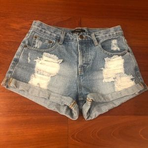 High Waisted Ripped Jean Shorts